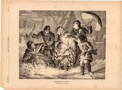 Hazatérés a bálból, fametszet 1881, metszet, nyomat, 22 x 28 cm, Ország - Világ, újság, tél, bál