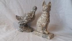 Márvány róka (vagy kutya) és madár szobor