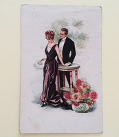 Régi képeslap 1920 körül szerelmespár T. Corbella