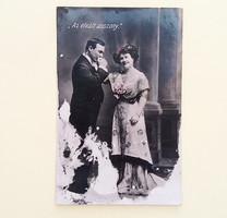 Régi képeslap 1909 női férfi fotó