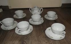 Zsolnay virág mintás teáskészlet kávés készlet a kiöntő hiányzik!