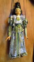 Gyönyörű Vintage művész báb marionett bábú baba csipke ruhás kontyos hölgy