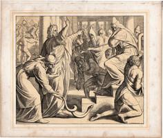 Bibliai kép (21), nyomat 1860, 22 x 25, A Szent Biblia díszes képekben, ige, II. Mos. 7, 10., Mózes