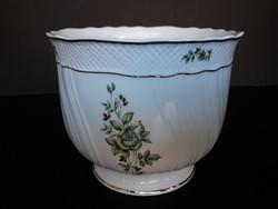 Hollóházi porcelán Erika mintás nagy méretű kaspó, virágtartó