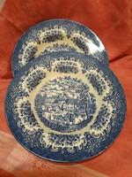 Gyönyörű angol jelenetes porcelán mély tányér