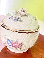 Hollóházi porcelán cukortartó antik