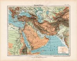 Nyugat - Ázsia hegy- és vízrajzi térkép 1906, magyar atlasz, magyar nyelvű, eredeti, régi, Arábia