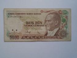 G029.131  Bankjegy  -Törökország   5000 líra  1970's