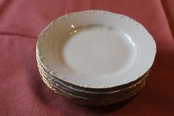 Antik Zsolnay fehér barokk aranyozott szélű süteményes tányér