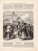 Az osztrák császár fogadása Prágában, metszet 1866, 22 x 23 cm, Ferenc József, monarchia, újság
