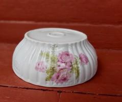 Zsolnay Gyönyörű rózsás , páfrányos porcelán pogácsás tál,  paraszti dekoráció, Gyűjtői darab