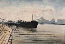 Dobroszláv József: Hajó a budapesti Szabadság hídnál
