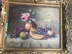 Csendélet, olaj, vászon festmény, 38 x 60 cm-es, szignált.