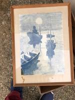 Kikötő, akvarell festmény, 45 x 30 cm-es, lakberendezéshez.