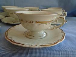 10 személyes nem használt KPM porcelán kávés készlet full luxus készlet domború mintázattal