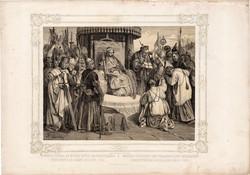 Képek Magyarország történetéből (12), litográfia 1873, kőnyomat, eredeti, történelmi, 21 x 29, 1222