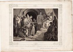 Képek Magyarország történetéből (8), litográfia 1873, kőnyomat, eredeti, történelmi, Szent László