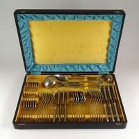 1B961 Antik WELLNER alpakka evőeszköz készlet eredeti dobozában 47 darab