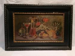 Antik jelzett üvegre festett asztali csendélet festmény