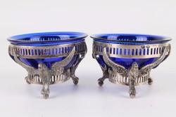 Antik ezüst madarakkal kobaltkék üveggel fűszertartó 1 pár