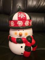 Karácsonyi hóember sütemény kínáló - jelzett