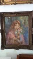KUNFFY LAJOS - Kislány Virágcsokorral - Pasztell - Karton - Méret: 60 cm. x 49 cm. + Keret.