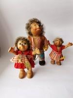 1950 k. Steiff sün apa és 2 gyerek / Vintage 1950's Steiff Toys Hedgehogs