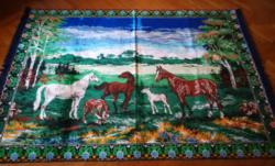 Mokett ,retro falvédő ,falikárpit lovakkal.