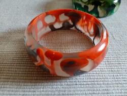 Narancssárga bakelit karkötő, karperec 55 g