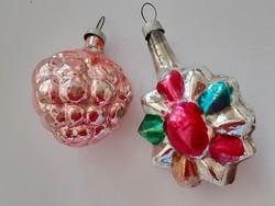 Régi üveg karácsonyfadísz málna gyümölcs üvegdísz 2 db