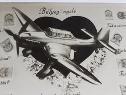 Régi képeslap 1944 német repülőgép fotó bélyeg-nyelv