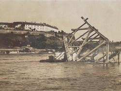 Régi fotó 1944 képeslap Pétervárad felrobbantott közúti híd