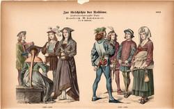 Viselettörténet (48), litográfia 1885, öltözet, ruha, divat, német, francia, történelem, XV. század