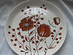 Nagy retro barna pipacsos tányér