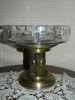 Antik szecesssziós üvegbetétes gyümölcs kosár,asztal közép.
