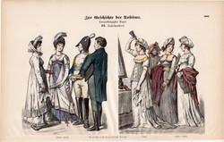 Viselettörténet (35), litográfia 1880, öltözet, ruha, divat, német, francia, történelem, 1802, 1812