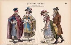 Viselettörténet (37), litográfia 1880, öltözet, ruha, divat, német, francia, történelem, 1793, XVIII
