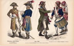 Viselettörténet (38), litográfia 1880, öltözet, ruha, uniformis, német, francia, történelem, katona