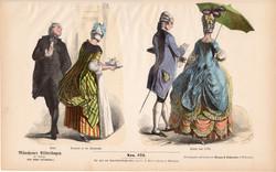 Viselettörténet (41), litográfia 1880, öltözet, ruha, divat, német, francia, történelem, 1780, abbé