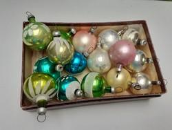 Régi üveg karácsonyfadísz mini gömb 16 db