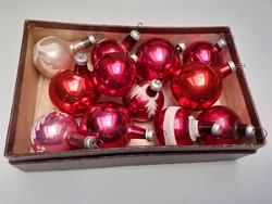 Régi üveg karácsonyfadísz mini gömb 12 db