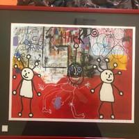 Paul Kostabi ( 1962-) American artist, painter Giclée  - Kézzel aláírt + kiadó száraz bélyegzője