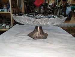 Régi ezüst talpas kristály tál