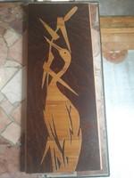 Retro intarziás kocsag/gém fa muveszeti tárgy