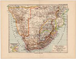 Dél- Afrika térkép 1892, eredeti, Meyers atlasz, német nyelvű, Kamaraland, Kapland