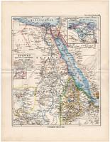 Egyiptom térkép 1892, eredeti, Meyers atlasz, német nyelvű, Afrika, Nílus, Abesszínia, Darfur