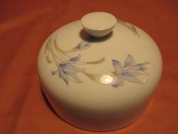 Kék virágos porcelán búra, vajtartó búra