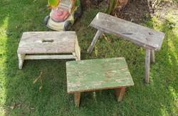 3 db paraszti sámli, kisszék,ülőke ,fejőszék ,nosztalgia darabok, egyben eladó