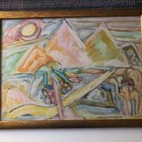 """Cs.Németh Miklós (1934 - 2012) """"Hórusz szeme Piramisokkal"""" 1987 vegyes technika-kartonon"""