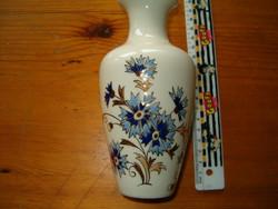 Zsolnay 15,5 cm nagyméretű búzavirág virágos motívum porcelán váza kaspó  KIÁRUSÍTÁS 1 FORINTRÓL